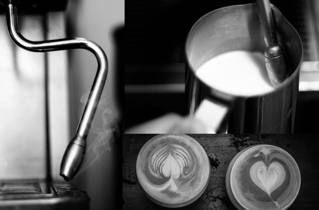 Coffee Machine Milk Steaming black and white images