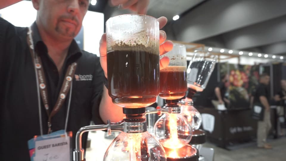 Syphon coffee being made