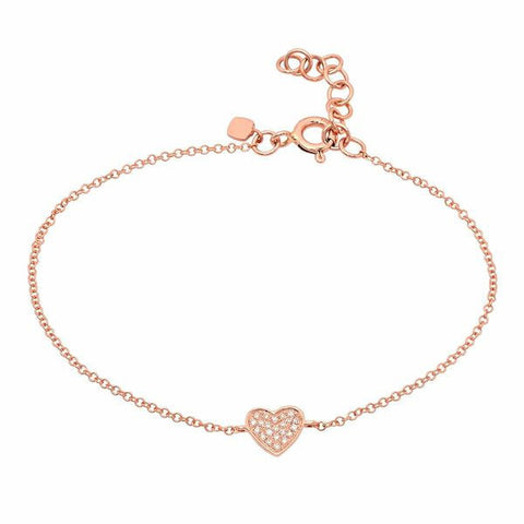 delicate dainty pave heart diamond bracelet 14K rose gold sachi jewelry