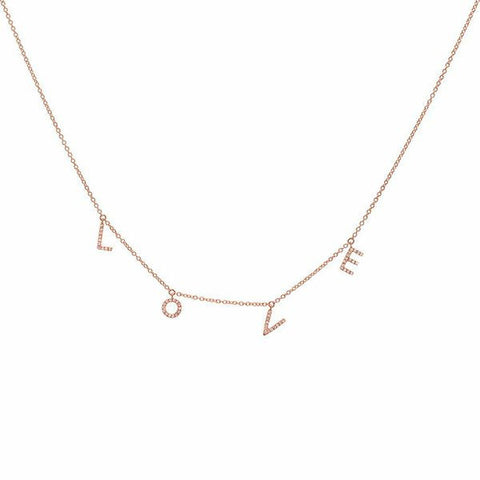 delicate dainty love diamond necklace 14K rose gold sachi jewelry