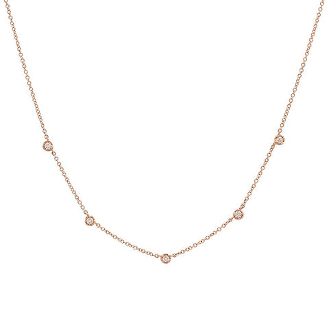 5 diamond station 14K solid gold delicate dainty sachi fine jewelry necklace