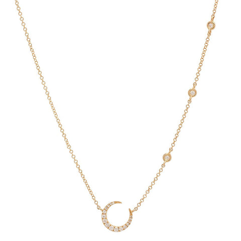 crescent moon diamond necklace 14k gold dainty delicate sachi jewelry