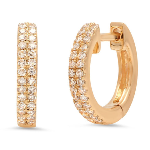double row diamond classic huggies earrings 14K yellow gold sachi jewelry
