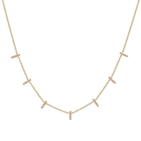 dainty delicate mini multi bar diamond necklace 14K yellow gold sachi jewelry