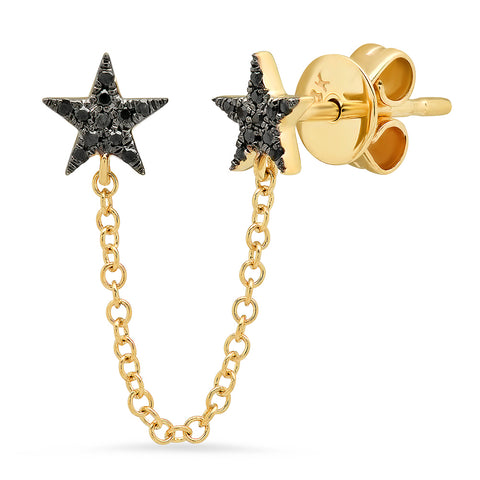 Double Black Diamond Star Chain Earring