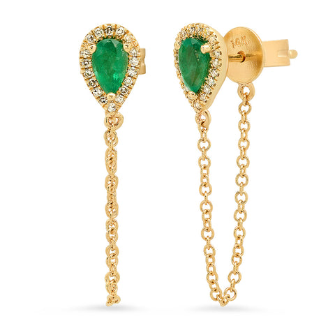 Emerald Pear Chain Earrings