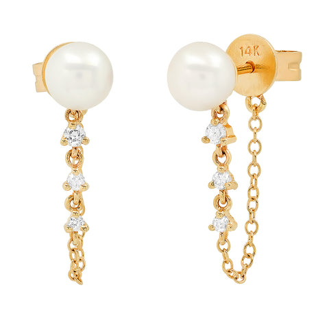 Pearl and Diamond Chain Loop Earrings