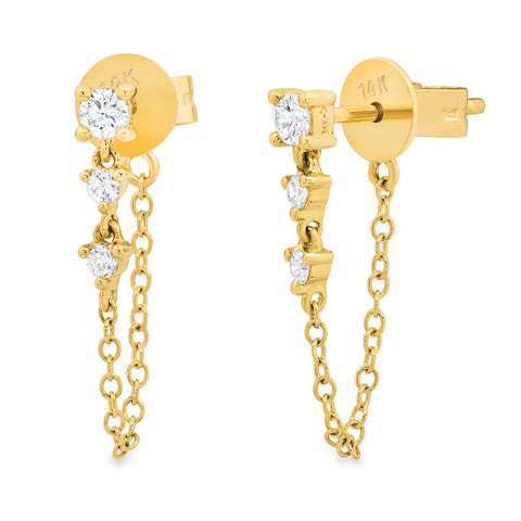 Trio Diamond Chain Loop Earring