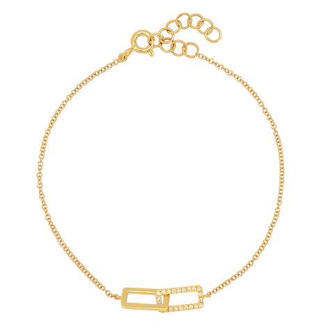 14K gold rectangle link diamond bracelet sachi jewelry stacking geometric