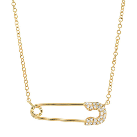 14K gold diamond safety pin sachi necklace hip