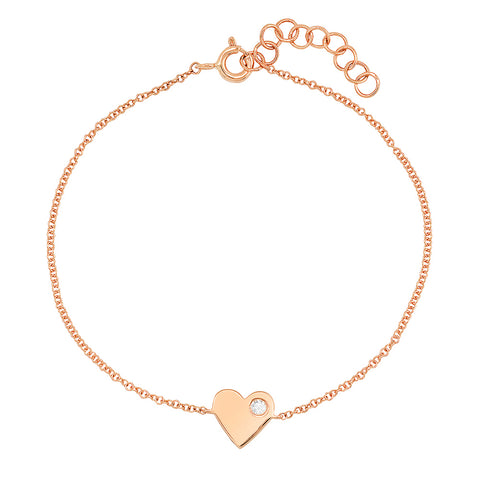 14K gold diamond stud heart bracelet sachi jewelry sweet