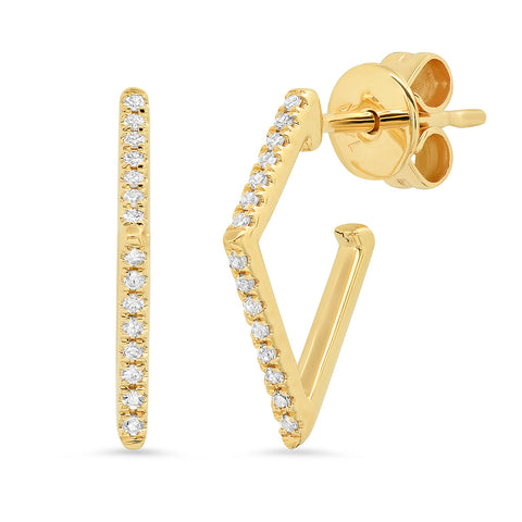 14K gold angular diamond earrings sachi jewelry unique geometric