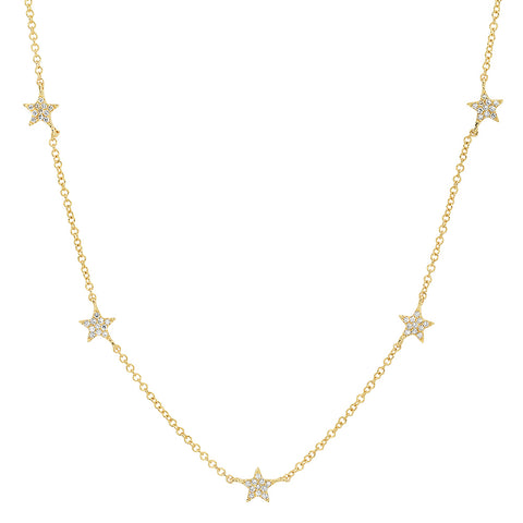 14K gold micropave diamond star station necklace layer sachi jewelry