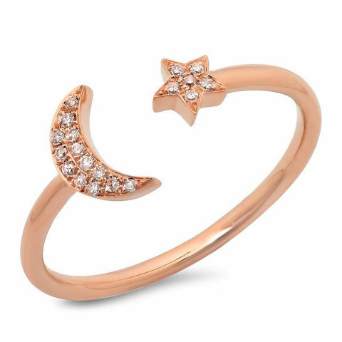 moon star diamond ring 14K rose gold sachi jewelry