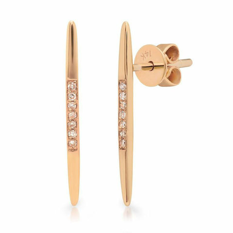 spear diamond studs earrings 14K rose gold sachi jewelry