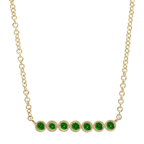 7 Emerald Bezel Necklace