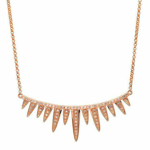 spiked bar diamond necklace 14K rose gold sachi jewelry