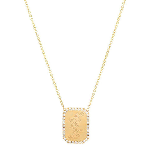 rectangular disc diamond necklace 14K yellow gold sachi jewelry