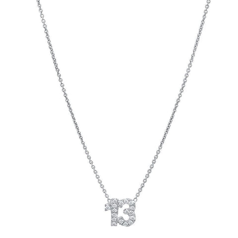Customizable Diamond Number Necklace
