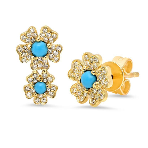 turquoise diamond studs earrings 14K yellow gold sachi jewelry