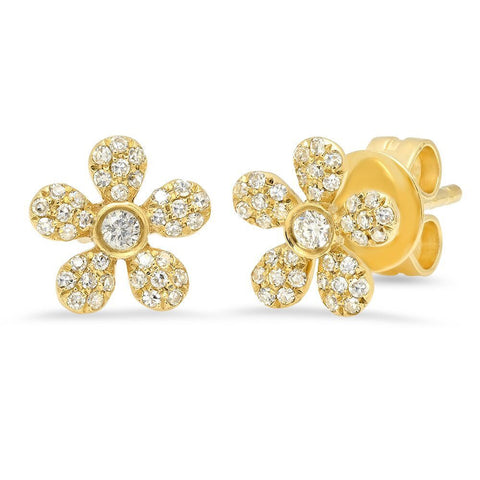 daisy diamond yellow gold studs earrings 14K sachi jewelry