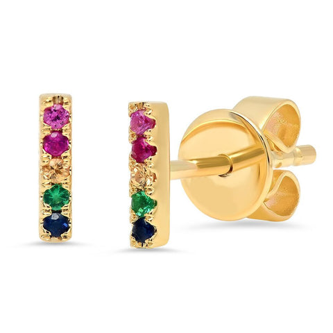 rainbow bar stone studs earrings 14K yellow gold sachi jewelry