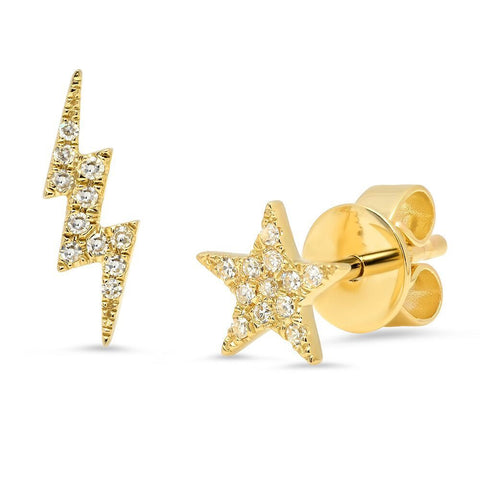 micro star lightning bolt diamond studs earrings 14K yellow gold sachi jewelry