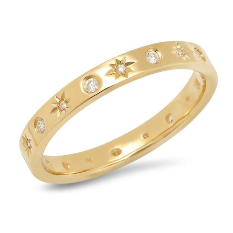 star studded diamond band ring 14K yellow gold sachi jewelry