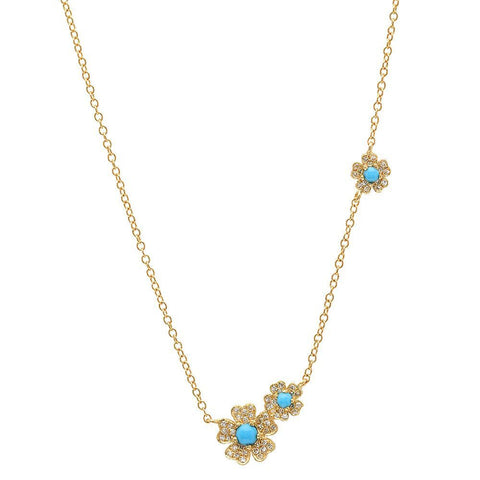 delicate dainty turquoise daisy necklace 14K yellow gold sachi jewelry