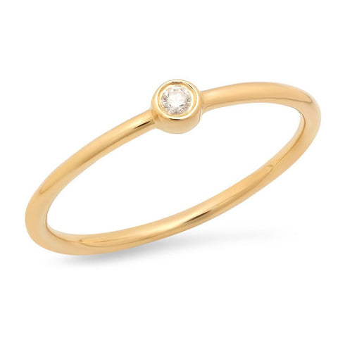 dainty single bezel diamond ring 14K yellow gold sachi jewelry