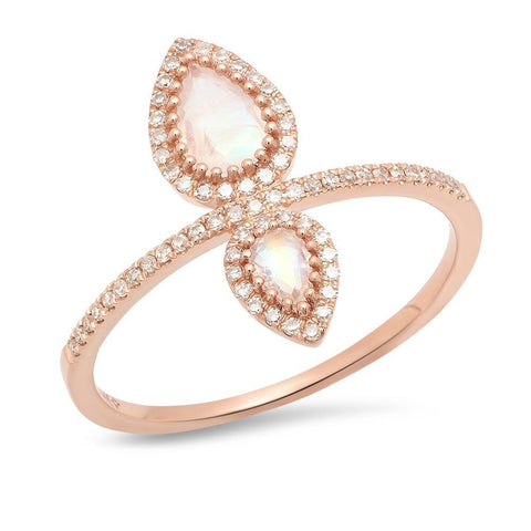 dainty double pear ring unique moonstone 14K rose gold sachi jewelry
