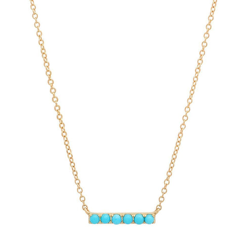 dainty delicate small turquoise necklace 14K yellow gold sachi jewelry