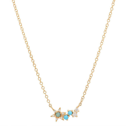 constellation turquoise diamond necklace 14k gold sachi dainty delicate jewelry