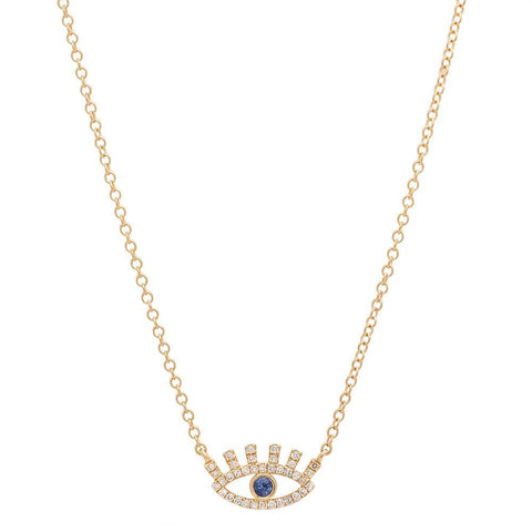 eyelash diamond unique necklace 14K yellow gold sachi jewelry