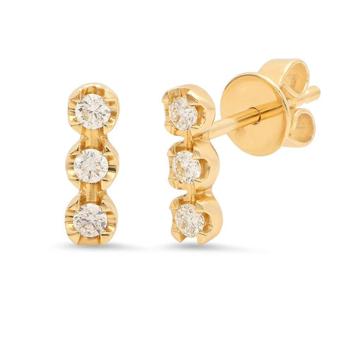 triple diamond bar stud earrings 14K yellow gold sachi jewelry