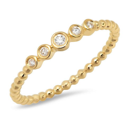 5 bezel bead delicate diamond stacking ring Sachi fine jewelry 14K gold