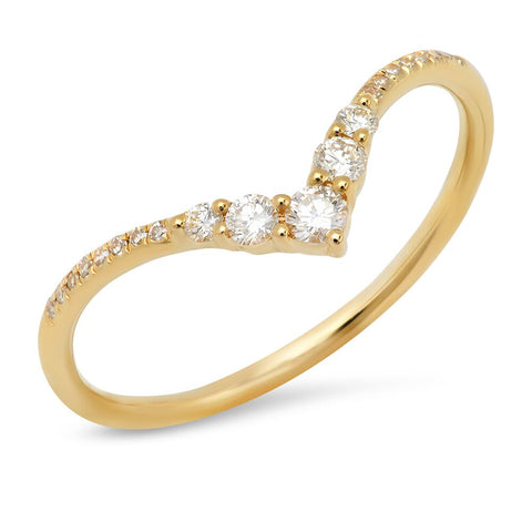 Sachi V Pronged Diamond Ring Yellow Gold