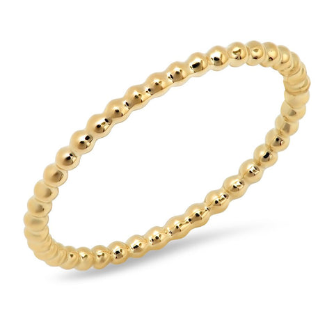 dainty plain bead ring 14K yellow gold sachi jewelry