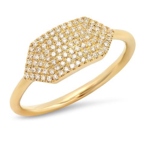 diamond pave hexagon ring 14K yellow gold sachi jewelry