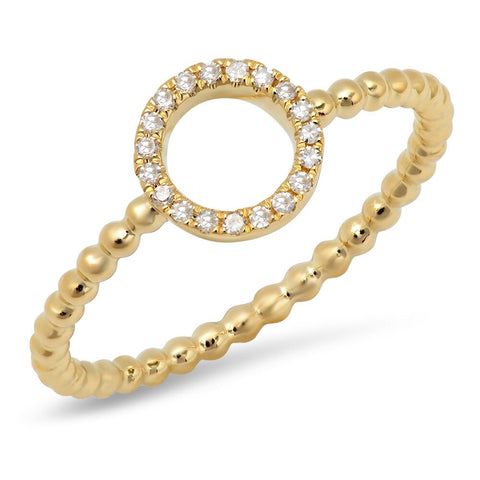 Circle Diamond Beaded Ring