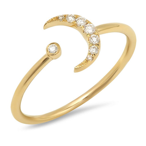 crescent moon and diamond cuff ring 14k gold dainty delicate sachi jewelry