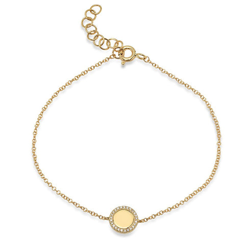 disc diamond bracelet 14K yellow gold sachi jewelry engraveable