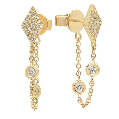 kite diamond chain earring hip 14K yellow gold sachi jewelry