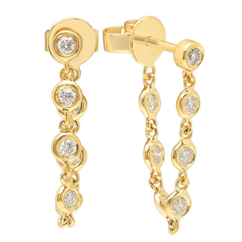 diamonds by the yard loop earrings 14K yellow gold sachi jewelry