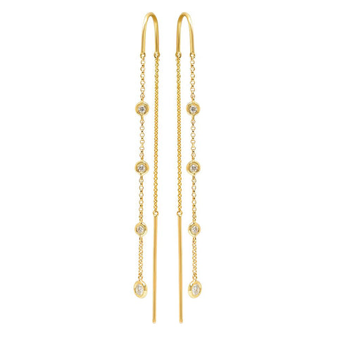 diamonds by the yard drop earrings 14K yellow gold sachi jewelry