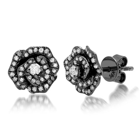 Black Rhodium Rose Diamond Studs