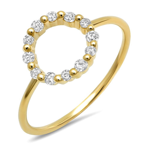 14K gold Open Circle Diamond Ring Dainty Delicate Sachi fine jewelry