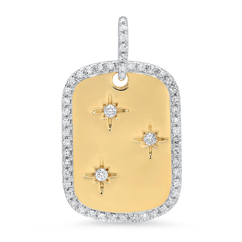 14K Solid yellow gold diamond dog tag pendant Sachi fine jewelry