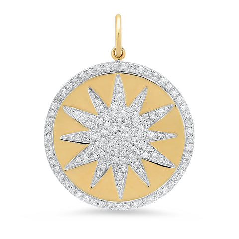 14K solid yellow gold diamond star disc pendant Sachi fine jewelry