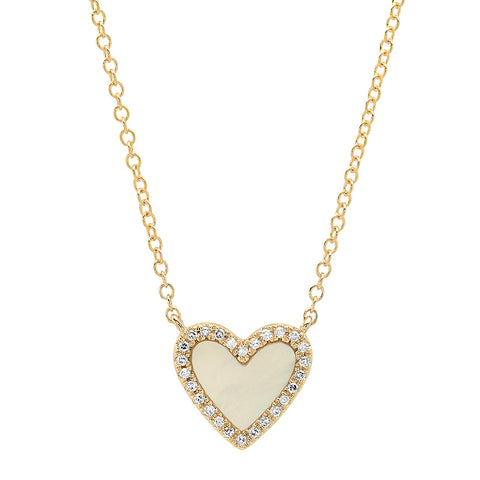 14K gold diamond mother of pearl heart necklace sachi fine jewelry sweet